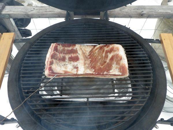 homemade bacon on the smoker