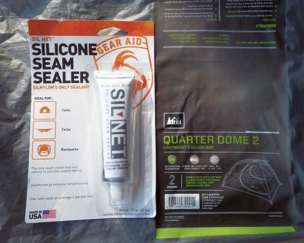 Silicon seam sealer for repairing silnylon