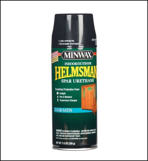 Minwax spray spar urethane, clear satin.