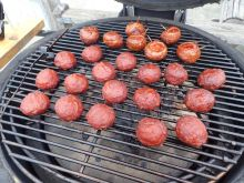 kamado joe smoked meatballs