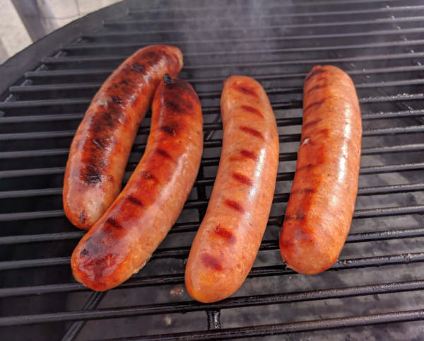 Man Cave Craft Eats Bacon : Man cave bacon beer cheddar cheese bratwursts on the kamado joe