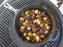 kamado joe smoked bacon and brussels sprouts