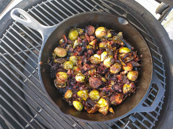 Kamado Joe Smoked Bacon and Brussels Sprouts  bills-site.com